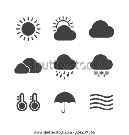Black and White Icon set of weather.VECTOR eps 10 - stock vector