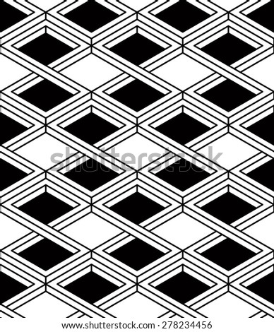 Black and white illusive abstract geometric seamless 3d pattern. Vector stylized infinite rhombuses backdrop, best for graphic and web design. - stock vector