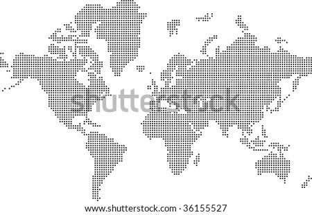 Black and white Illustrated world map (vector) - stock vector