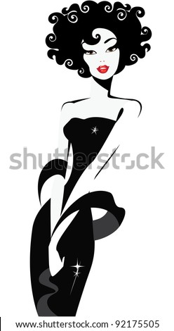 Black and white illustration of a elegant woman