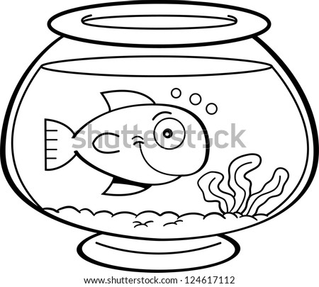 Black And White Illustration Of A Fish In Bowl