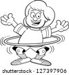 Black and white illustration of a girl playing with a hula hoop. - stock photo