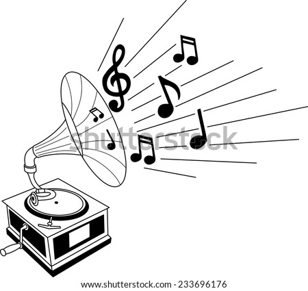 Black and white illustration of a gramophone with musical notes - stock vector