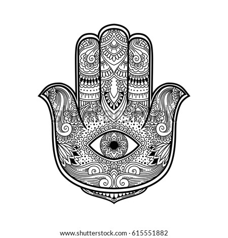 Black White Illustration Hamsa Hand Symbol Stock Vector 615551882