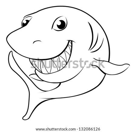 Black and white illustration of a happy cartoon shark - stock vector