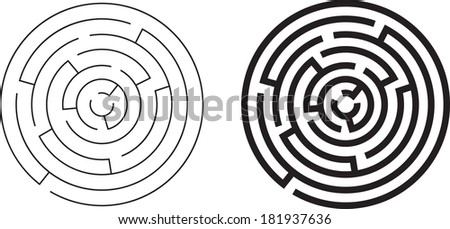 black and white illustration of a maze - stock vector