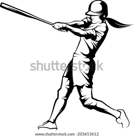 Black and white illustration of a  softball hitter swinging. - stock vector