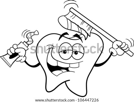Black and white illustration of a Tooth Holding a Toothbrush - stock vector