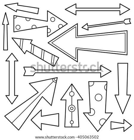 Black and white illustration of arrows. Coloring page.