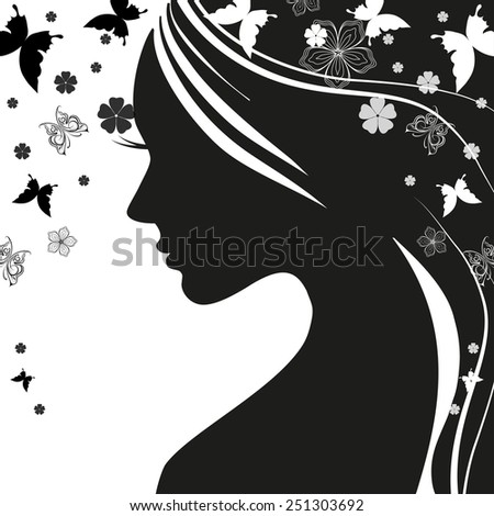 Black and white illustration of elegant woman. - stock vector