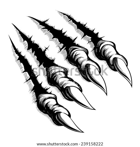 Black and white illustration of monster claws breaking through ripping tearing and scratching the wall. Vector illustration - stock vector