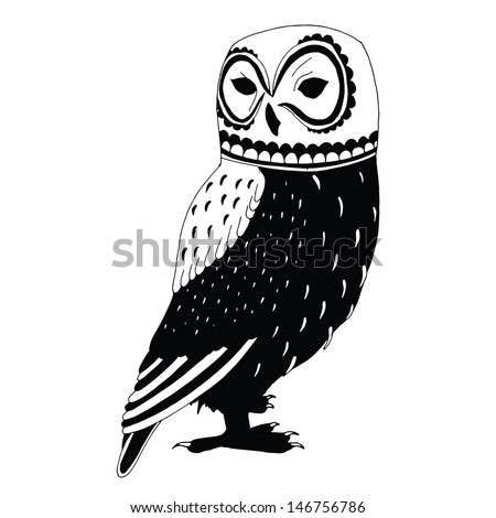 Black and white illustration of owl - stock vector