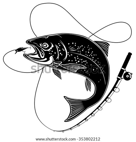 Black and white illustration of wild trout. Vector illustration can be used for web design, cards, logos and other design. - stock vector