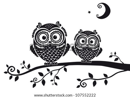 black and white illustration vintage owl fairy tale - stock vector
