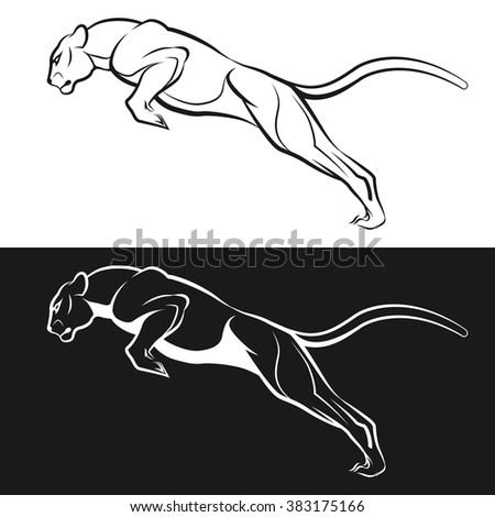 Black and white image of a cougar - stock vector