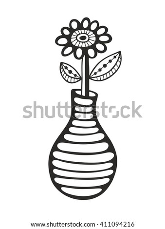 Black and white image of flower and vase. Vector illustration for coloring. - stock vector