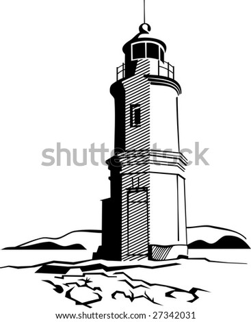 black-and-white image of  lighthouse - stock vector