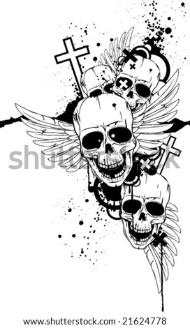 Black-and-white image with skulls - stock vector