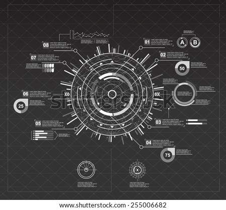 black and white infographic elements. futuristic user interface - stock vector