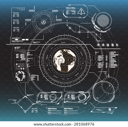 black and white infographic elements. HUD UI for business app. Futuristic user interface. Abstract virtual graphic touch user interface. UI hud infographic interface screen monitor set web elements. - stock vector