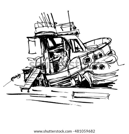 black and white ink sketch drawing of boat in marine, travel vector illustration