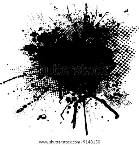 black and white ink splodge with room for your own text - stock vector