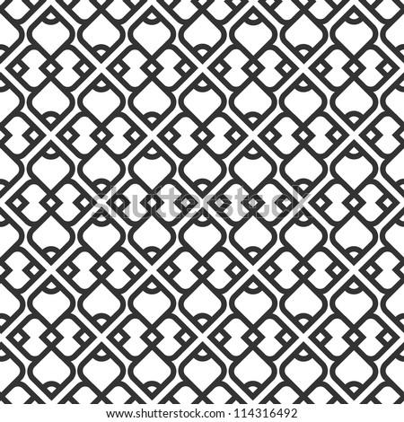 Black and white islamic seamless pattern. Vector illustration - stock vector