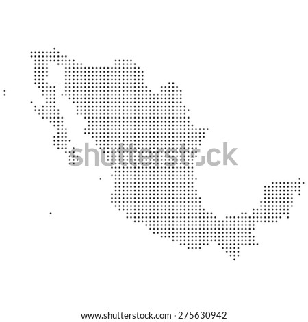 Black and white isolated dotted detailed Mexico map illustration vector - stock vector