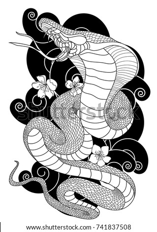 Black and white japanese snake cobra with chrysanthemum flower design doodle and coloring book snake