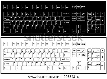 Black and white keyboard - stock vector