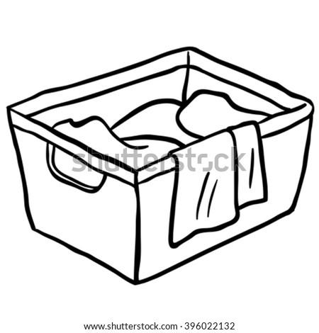 Black And White Laundry Basket Cartoon