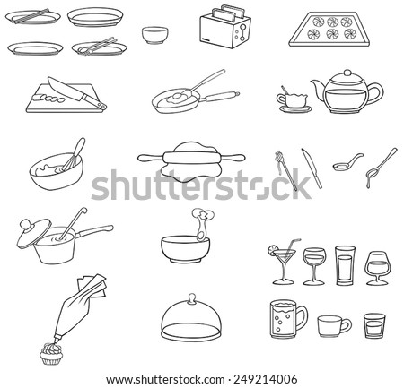 Black and white line drawing kitchenware icon set, create by vector - stock vector
