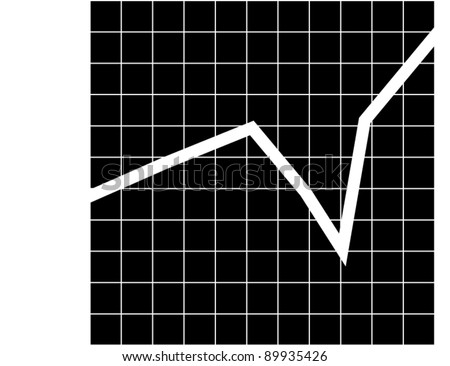 black and white line graph - stock vector