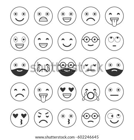 black white linear flat icons emoticons stock vector
