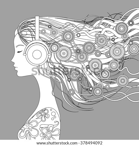 Black and white linear picture on gray background. Girl half-face with loose hair and abstract elements listen to music with head-phones. Vector illustration pattern for coloring book - stock vector