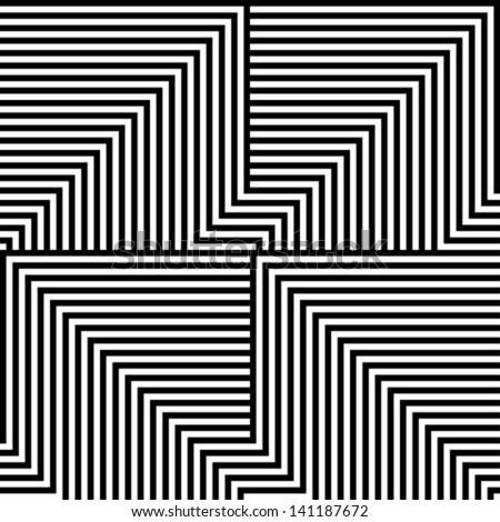 Black and white lines pattern - stock vector