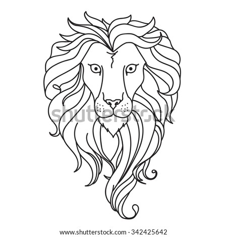 Black and white lion. Vector