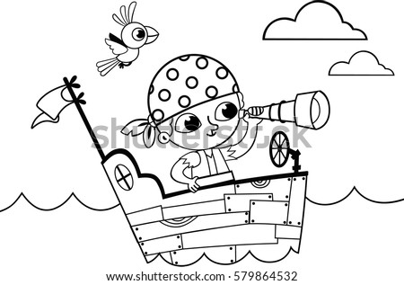 Black White Little Pirate Coloring Book Stock Vector (Royalty Free ...