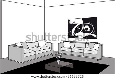 Black and White Living Room Vector - stock vector