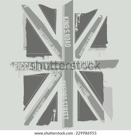 Black And White London Flag T Shirt Graphics Vectors