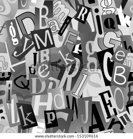 Black and white magazine letters collage. Seamless vector pattern.  - stock vector
