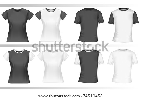 Black and white male and female polo shirts. Photo-realistic vector illustration - stock vector