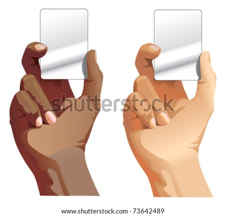 black and white male hands holding card - stock vector