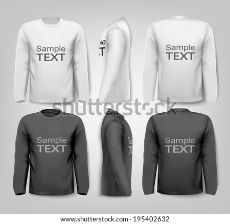 Black and white male long sleeved shirts with sample text. Design template. Vector.  - stock vector