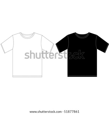 Black and white man T-shirt design template - stock vector