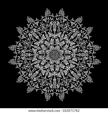 Black and white mandala. Abstract vector illustration.  - stock vector