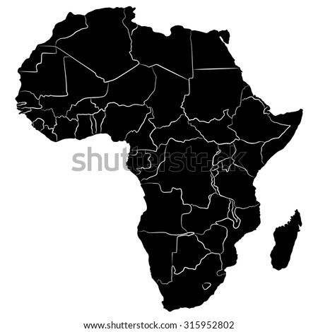 Good Black And White Map Of Africa