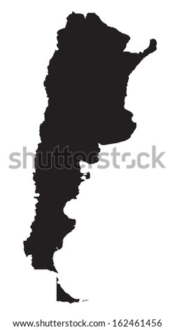 black and white map of Argentina - stock vector