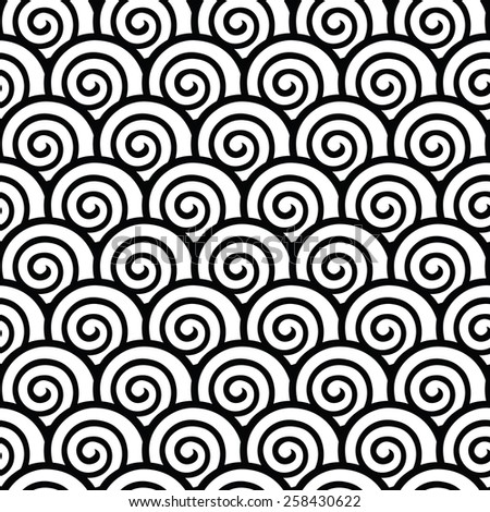 Black and white meander round forms. Seamless greek key pattern.  - stock vector
