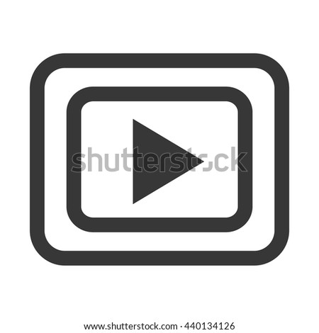 black and white media icon front view over isolated background,vector illustration - stock vector